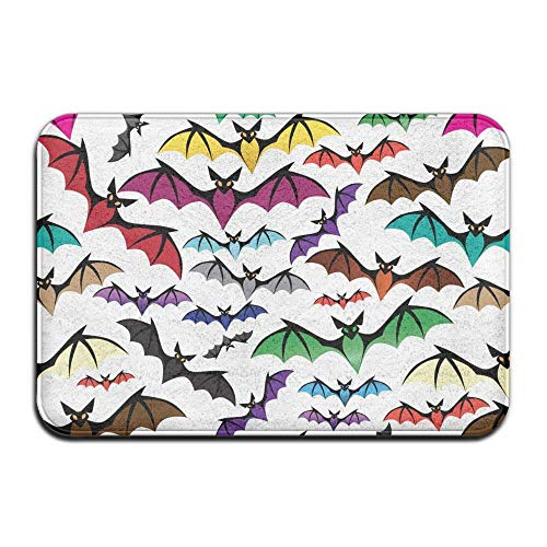 Carl McIsaacDoor Apartment Heavy Duty Pretty Doormat, Halloween Rainbow Bats, Kitchen Bathroom Bedroom Living Room Entrance Mat 16 x 24 -