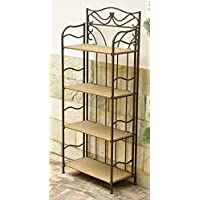 Wicker Resin/Steel 4-Tier Indoor/Outdoor Bakers Rack