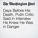 Days Before His Death, Putin Critic Said in Interview He Knew He Was in Danger | Andrew Roth,Natalie Gryvnyak