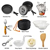 12 Piece Camping Backpacking Mess Kit With Mini Compact and Fold-able Stove Zoxy Outdoors 2 Person Cookware Pot, Pan, Lid, BPA Free Bowls, Soup Spoon, Utensil, Spork, Cleaning Sponge