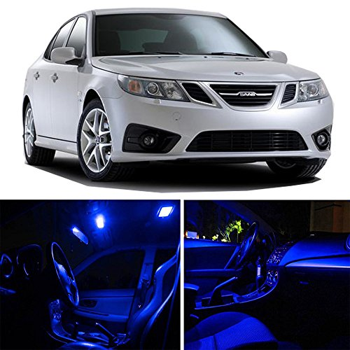 cciyu Replacement fit for Saab 9-3 2002-2011 Interior LED Light Package Kit 13 Pack Blue -
