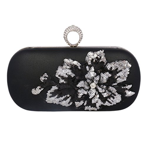 Black Rhinestone Sequin Elegant Evening Bag Clutch Flower Womens Bag Adoptfade XzPOwz