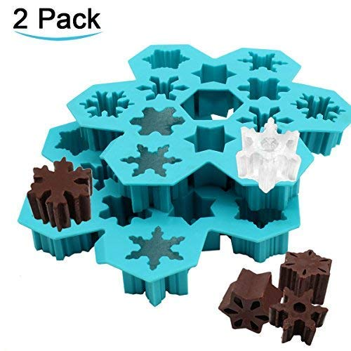 Silicone Ice Cube Trays - Soap Molds - Snowflake Silicone Ice Mold Chocolate Molds Candy Molds Christmas Silicone Molds Create 6 Different Shaped Ice Cubes(2 Pack)]()