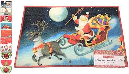 Holiday Season Rug, Christmas Time Fun Designs, Non-Skid Home, Kitchen, Floor Mat, Comfortable Standing and Entrance Rug, 17 x 28 Santa Sleigh