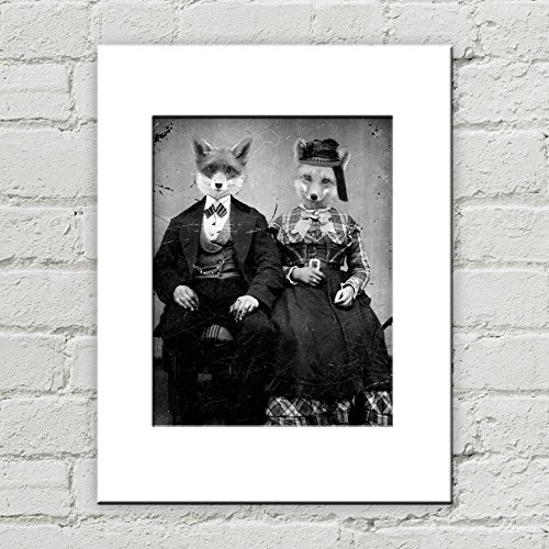 Original Couples Costumes 2016 (5 x 7 Fox Couple Matted Art Print, Anthropomorphic)