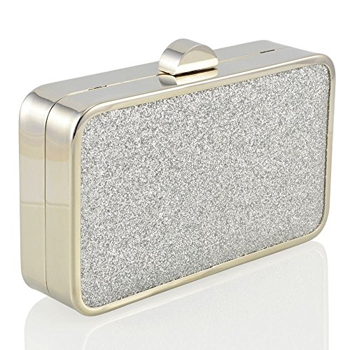 Essex Glam Pochette Sintetica da Sera Glitter Argento Glitter