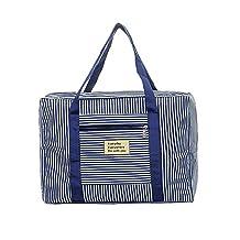 Refoss Foldable Waterproof Striped Travel Duffel Bag for Women Men Travel Sports Gym Luggage Clothes Organizer Storage Bag