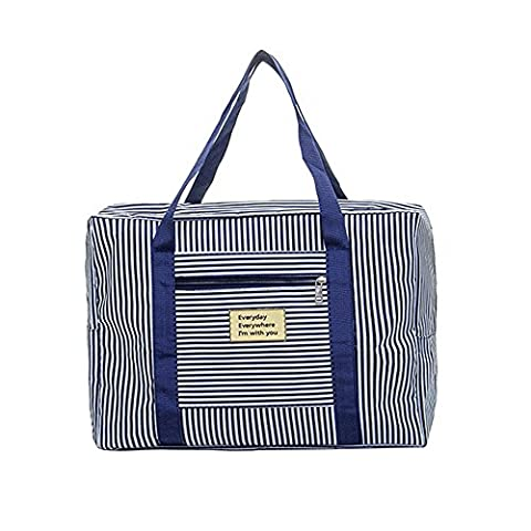 Refoss Foldable Waterproof Striped Travel Duffel Bag for Women Men Travel Sports Gym Luggage Clothes Organizer Storage - Black Label Duffel
