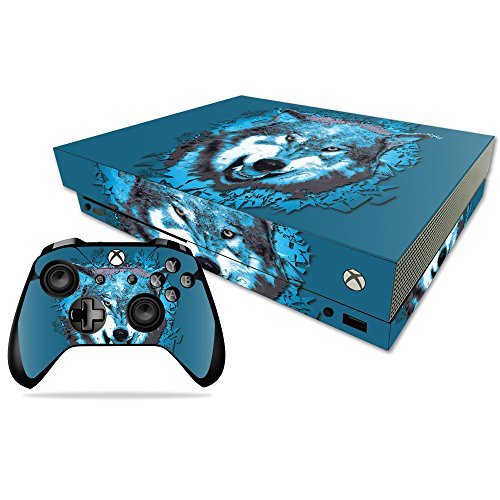 MightySkins Skin Compatible with Microsoft Xbox One X - Wolf Shatter | Protective, Durable, and Unique Vinyl Decal wrap Cover | Easy to Apply, Remove, and Change Styles | Made in The USA