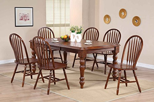 Sunset Trading Andrews 7 Piece Extension Dining Set with Arrowback Chairs, Distressed Chestnut Finish