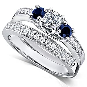 Blue Sapphire and Diamond Bridal Ring Set 3/4 Carat (ctw) in14k White Gold