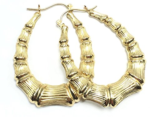 NEW 10K YELLOW GOLD 39 MM LONG OVAL BAMBOO HOOP STYLE EARRINGS 6075