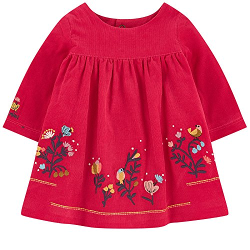 Catimini Charming Baby Girls Velvety Red Embroidered Dress Size 1 Month
