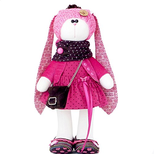 Easter bunny toy, Fabric doll bunny 14 inch for girl, Easter rabbit plush