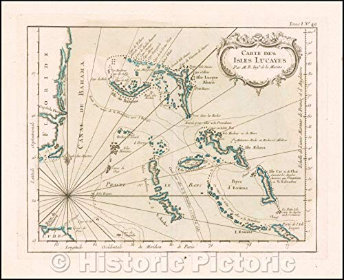 Southeast Florida Maps - Historic Map | Carte Des Isles Lucayes (Bahamas & Southeast Coast of Florida), 1764, Jacques Nicolas Bellin | Vintage Wall Art 54in x 44in
