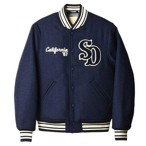 【STANDARD CALIFORNIA/スタンダードカリフォルニア】×【Harris Tweed/ハリスツイード】 SD HARRIS TWEED Fabric Varsity Jacket NAVY Mサイズ B0777L3QPV