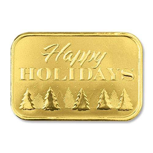 Deluxe Embossed Pine Tree Lined Happy Holidays Luxury Gold Foil Seals, 1 7/8 Inches, 48 (Deluxe Foil Seals)