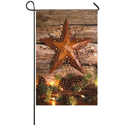 Wood Outdoor Garden Barn (Holiday Decor Outdoor House Flag- Wood Barn Star And Lights Pine Tree 12 x 18 inches Double Sided Garden Flag)
