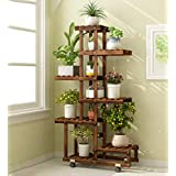 ZENGAI Stands Flower Pot Shelf Solid Wood Multilayer Indoor Mobile Wheel Shelves Display Stand Rack Container (Color : Brown, Size : 67x25x121cm)