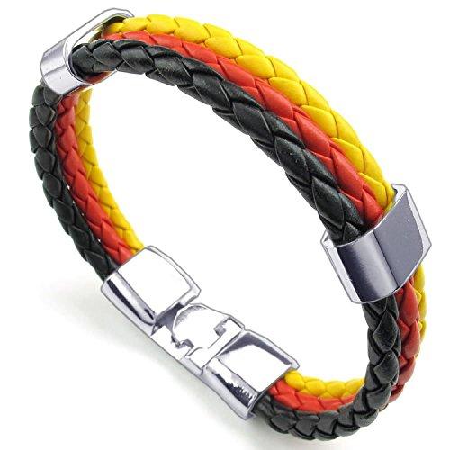 Leather Bracelet - Landove Unisex Germany Flag Triple Round Cord Braided Rope Wrap Banner Cuff Bangle Wristband DE