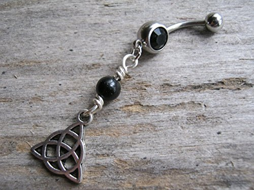 (Personalized Triquetra Belly Button Ring, Black Agate and Antiqued Silver Body Piercing Jewelry with Optional Birthstone, FREE USA SHIPPING)