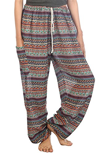 Lofbaz Mujeres Harem Pantaloni Harén de cintura de cordón Hippie Boho Waterdrops Naranja