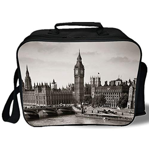 London 3D Print Insulated Lunch Bag,Westminster with Big Ben and Bridge Nostalgic Image British Antique Architecture Decorative,for Work/School/Picnic,Sepia White