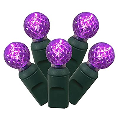 """Set of 100 Purple Commercial Grade LED G12 Berry Christmas Lights 4"""" Spacing - Green Wire"""