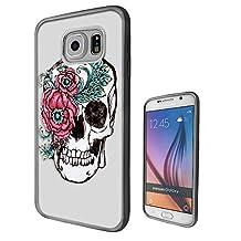c00470 - Cool Fun Trendy Cute Floral Skull Tattoo Biker Sugar Skull Design Samsung Galaxy S6 Fashion Trend CASE Black & Clear Gel Rubber Silicone All Edges Protection Case Cover