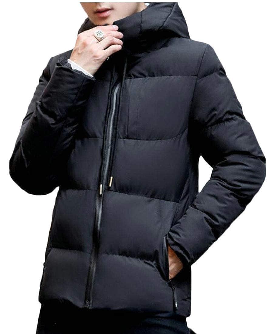 desolateness Mens Solid Hooded Down Jacket Zipper Outwear Winter Hooded Coats
