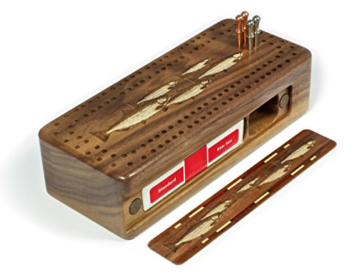 Fish- Salmon- Trout Engraved Wooden Cribbage Board with Quality Metal pegs and deck of cards by Mitercraft