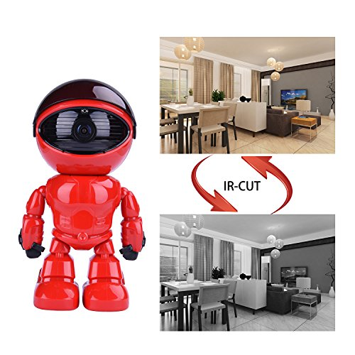 Wireless Ip Camera 1080P Robot 2.0MP Security Camera Night Vision Alarm Audio Baby Monitor Pan Tilt Remote Home Security P2P IR Night Vision for Mobile Android/IOS and Laptop (Red) by Tianbudz (Image #3)