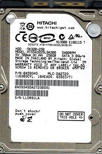 Hitachi HTS543225L9A300 P/N: 0A59345 MLC: DA2723 250GB