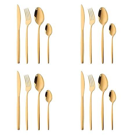 16 piezas Set de Vajilla Acero Inoxidable Cuberteria Oro ...
