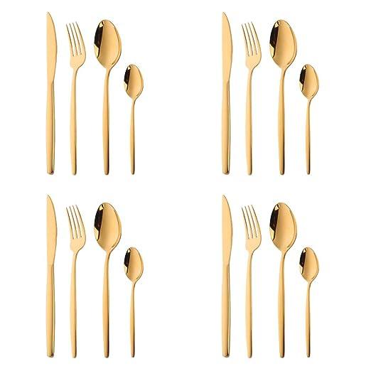 16 piezas Set de Vajilla Acero Inoxidable Cuberteria Oro Mostrada ...