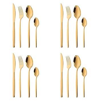 16 piezas Set de Vajilla Acero Inoxidable Cuberteria Oro Mostrada, Bisda Cubiertos Cuchillo Tenedor Cuchara Cucharilla Servicio para 4: Amazon.es: Hogar
