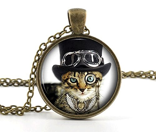 Cool Cat Picture Pendant Necklace – Steampunk Funny Glass Kitten Kitty Jewellery