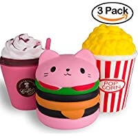 WATINC Kawaii Jumbo Hamburger&Popcorn Set Squishy Slow Rising Sweet Scented Vent Charms Kid Toy Hand Toy, Stress Relief Toy, decorative props Doll Gift Fun Large (pink ham&pop corn)