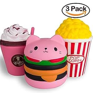 WATINC Kawaii Jumbo Hamburger&Popcorn Set Squishy Slow Rising Sweet Scented Vent Charms Kid Toy Hand Toy, Stress Relief Toy , decorative props Doll Gift Fun Large (pink ham&pop corn)