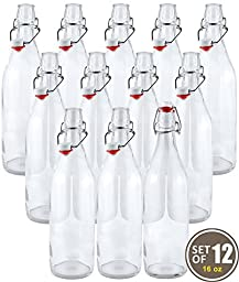 Estilo Swing Top Easy Cap Clear Glass Beer Bottles, Round, 16 oz, Set of 12