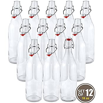 Estilo Swing Top Easy Cap Clear Glass Beer Bottles, Round, 16 oz, Set