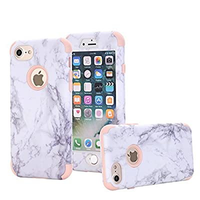 iPhone 7 Case, ZAOX [Marble Pattern] Hybrid Dual Layer [Hard PC outer + Soft Silicone inner] Bumper Protective Shock-Absorption & Anti-Scratch Case For iPhone 7