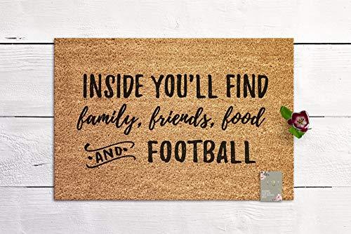 Family, Friends, Food, Football Welcome Mat Doormat Housewarming Gift New Home Gift Special Doormat Coir Mat Outdoor Doormat Cute Doormat