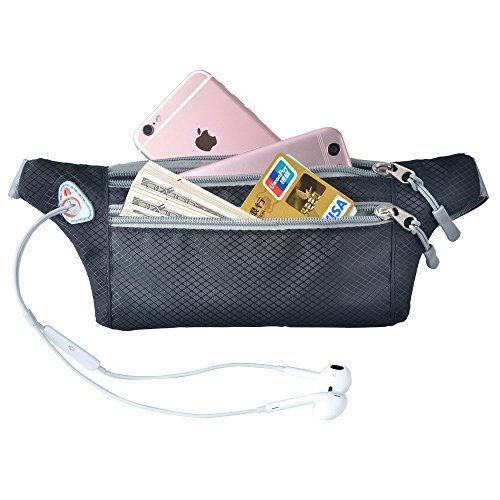 Running Belt Waist Pack for Women, Waterproof Fanny Pack with Headphone Jack & Adjustable Buckles for Hiking Gym Outdoor Sports and More by Ellien (Black)