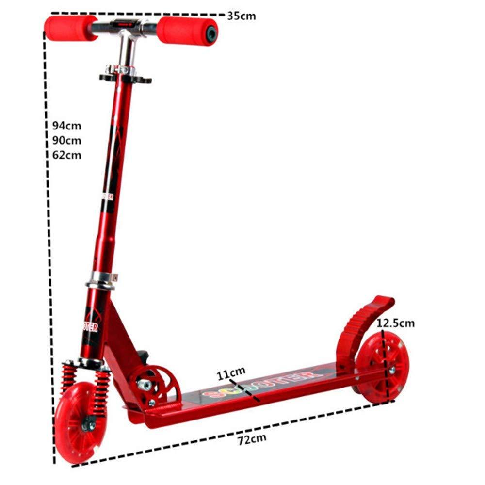 ZHIJINLI Scooter de Dos Ruedas de Aluminio de 125 mm PU Flash Rueda Cochecito de Dos Ruedas Scooter