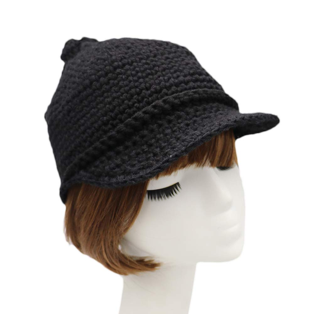 Black XuanChen Winter Knitted Cap Warm Newsboy Cable Visor Beanies with Tail 57CM
