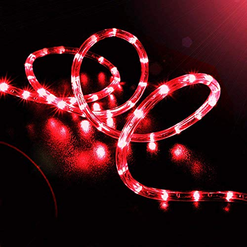 (EONHUAYU Solar Rope Lights Outdoor, 23ft 50LED Outdoor Rope String Lights Waterproof Copper Tube Wire String Lights for Garden,Yard, Path, Fence, Stairs, Backyard, Patio (Red))