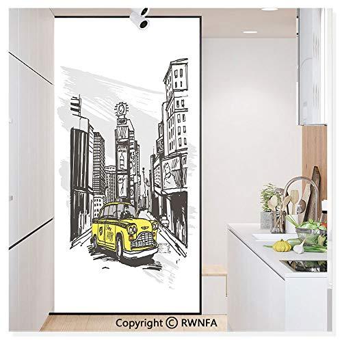 RWN Film No Glue Static Cling Glass Sticker Decorative,Yellow Hand Drawn Cab in New York Street Cityscape American Urban Life Art 17.7