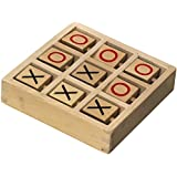 Tic-Tac-Toe Wooden Travel Board Game With Rotating X's and O's