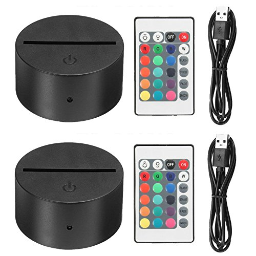EEEKit 2 Pack 3D Night LED Light Lamp Base + Remote control + USB Cable Adjustable 7 Colors Decoration de la maison Decorative lights for bedroom child room living room bar shop cafe restaurant office